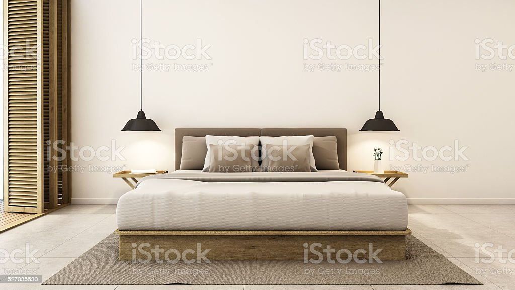 Bedroom interior design modern & loft - 3D render stock photo