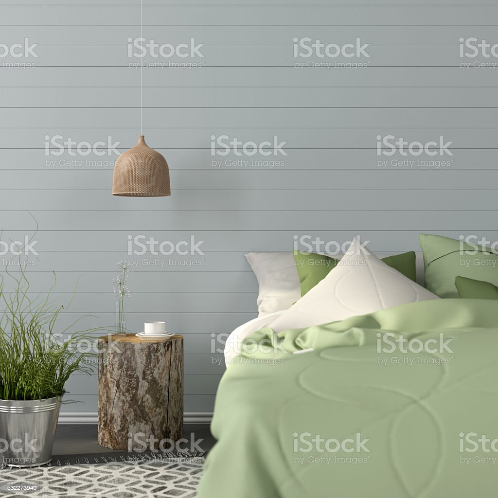 Bedroom interior in a green color stock photo