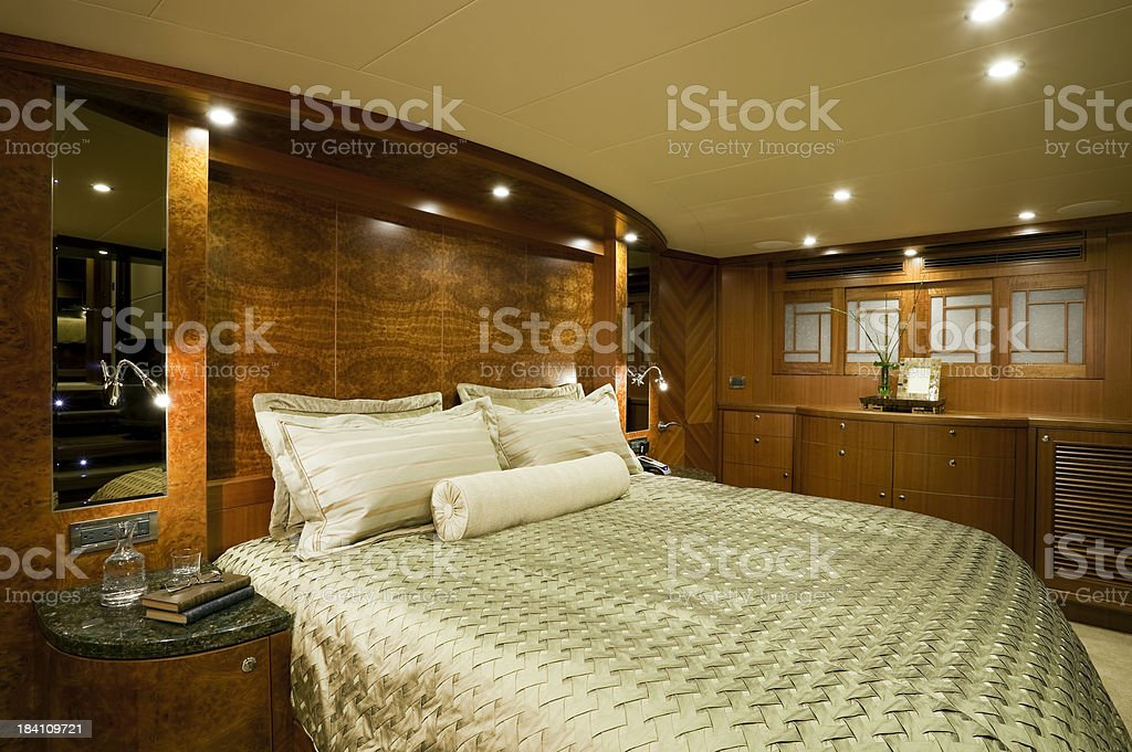 bedroom interior luxury motor yacht wealth royalty-free stock photo