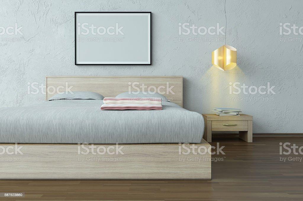 Bedroom Interior Scene With Blank Frame stock photo