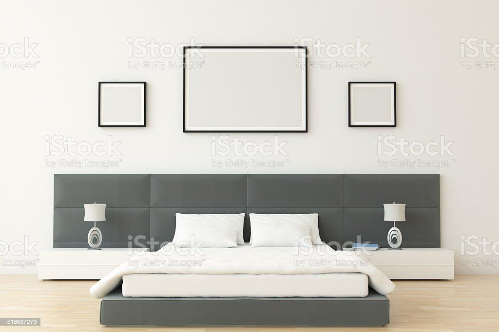 Bedroom Interior Scene With Blank Frames stock photo