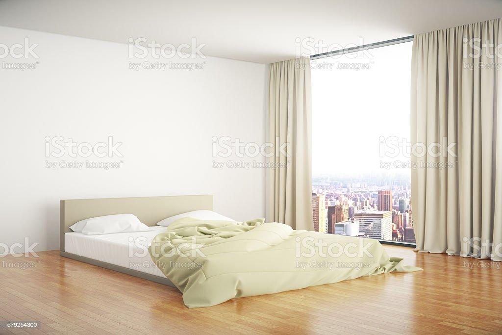 Bedroom interior sideview stock photo
