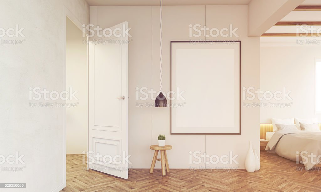 Bedroom interior with open door and lamp, toned stock photo
