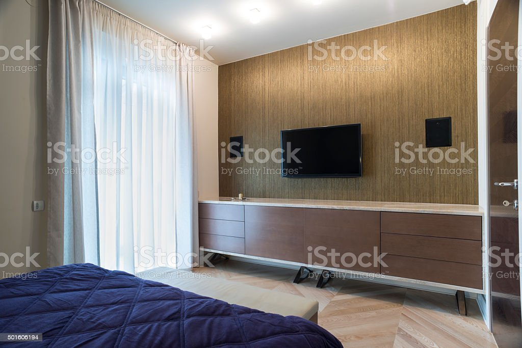 Bedroom interior with wall mounted tv and speakers royalty free stock  photoBedroom Interior With Wall Mounted - Bedroom Speakers. SaveEmailBedroom Speakers Home Design Ideas