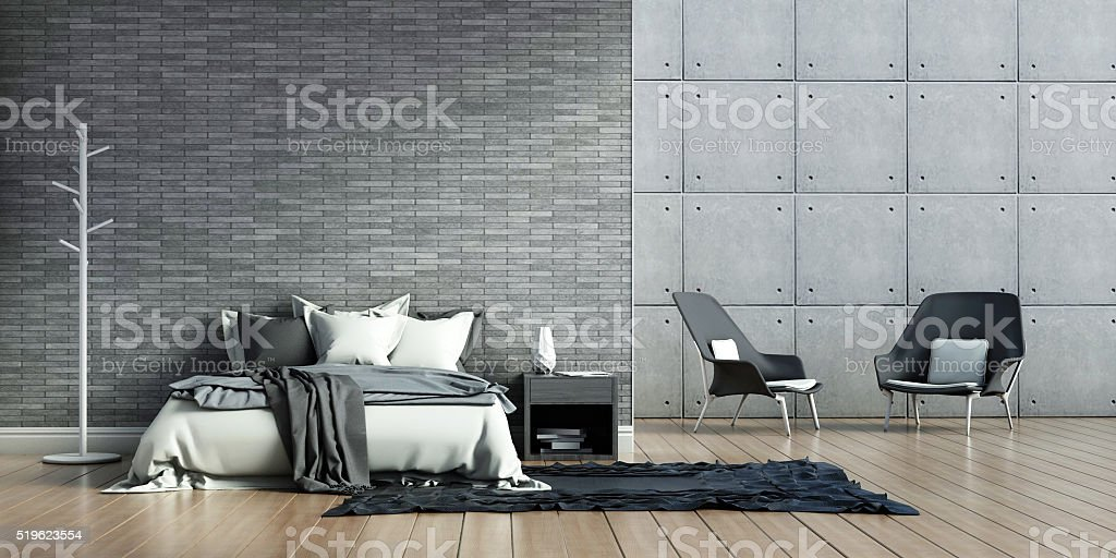bedroom interiors loft stock photo