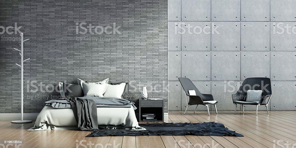 bedroom interiors loft stock photo