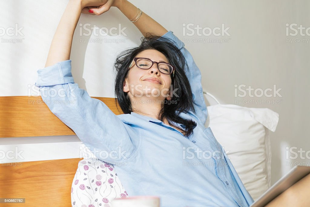 Bedroom leisure time stock photo