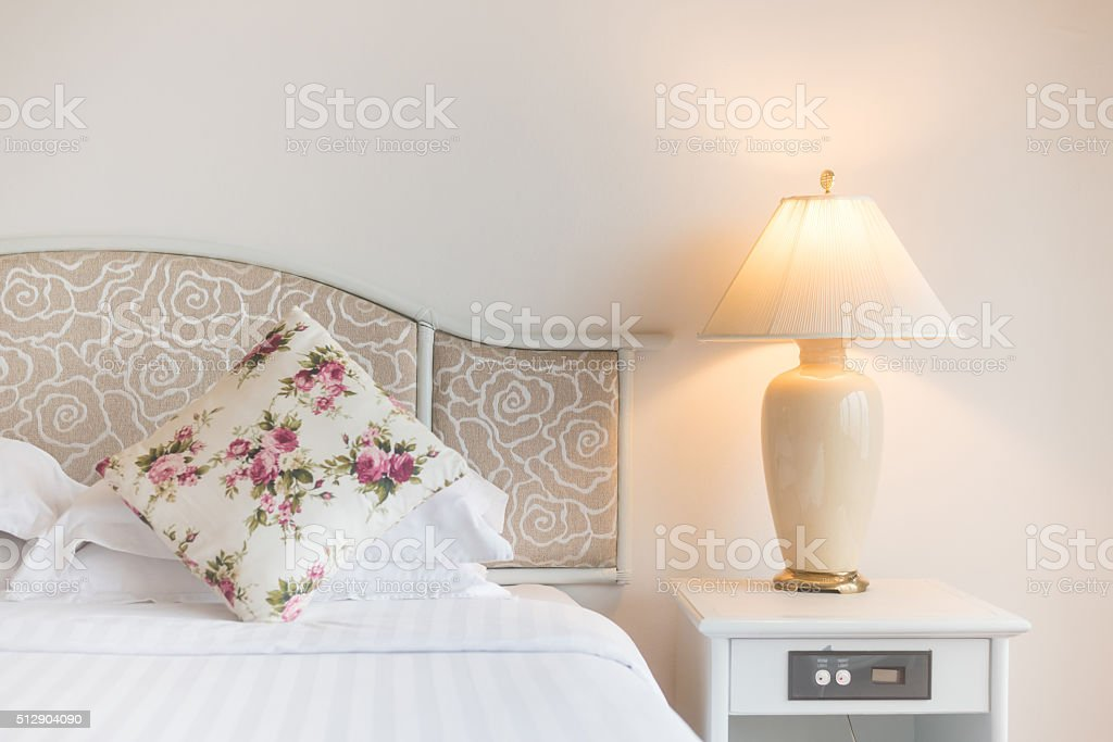 Bedroom modern design with furnishing stock photo