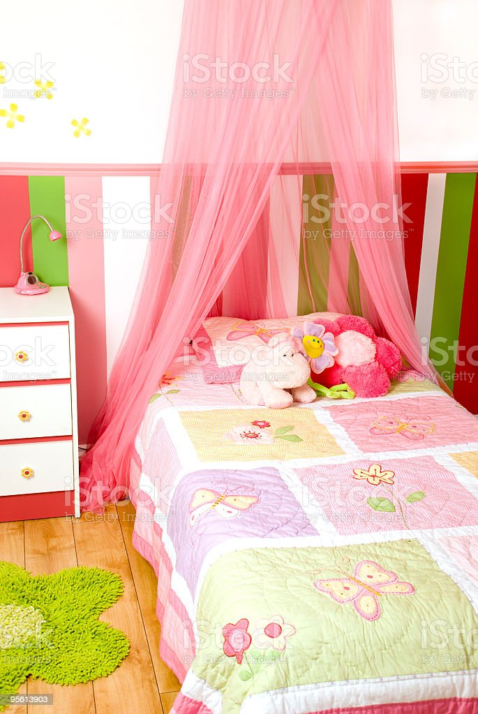 bedroom Multicolor room for little girl pink royalty-free stock photo