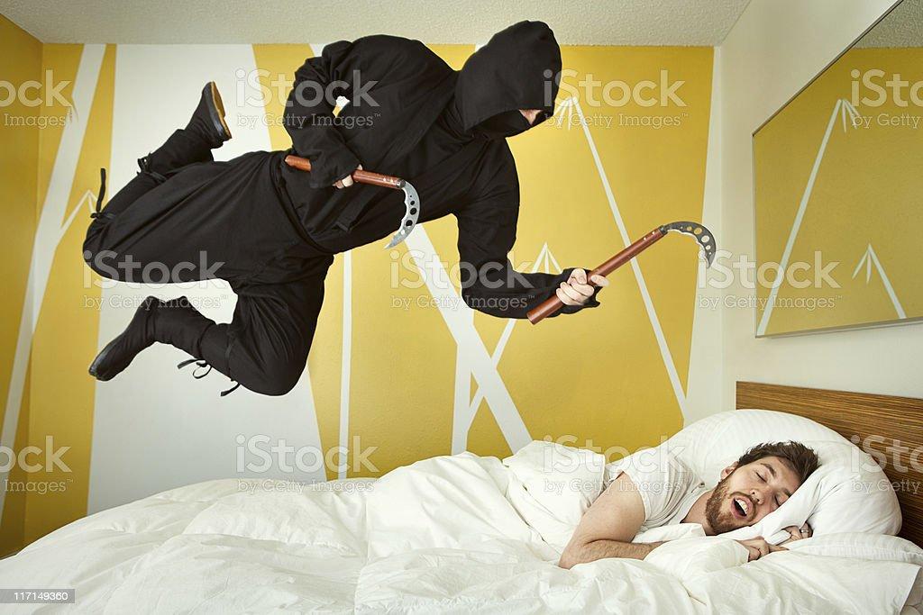Bedroom Ninja Attack royalty-free stock photo