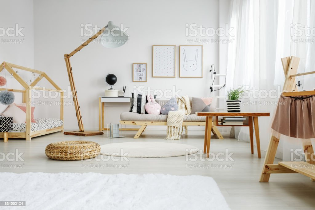 Bedroom of young girl stock photo