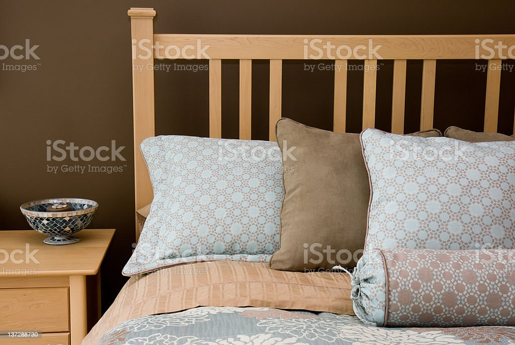 Bedroom Pillows and Linens royalty-free stock photo