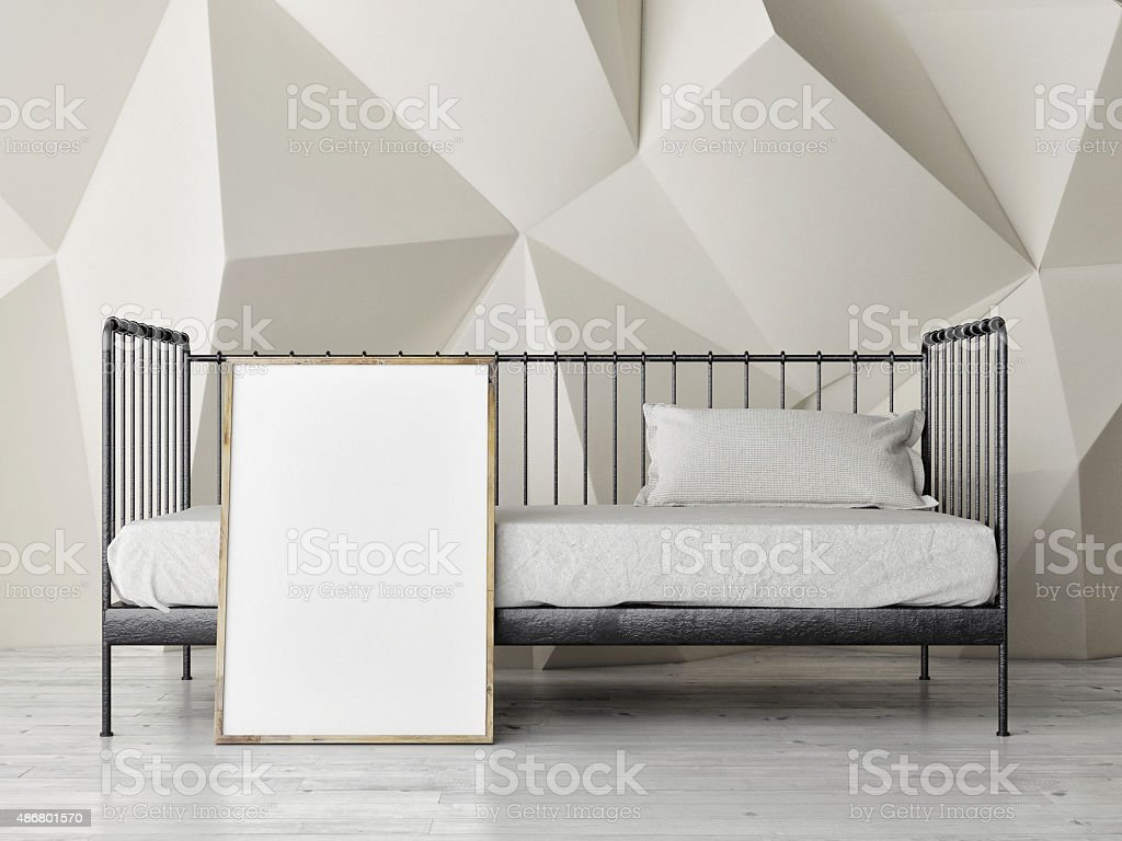 Mock ups of one bedroom two bedroom and three bedroom apartments - Bedroom Retro Single Bed With Mock Up Poster Royalty Free Stock Photo