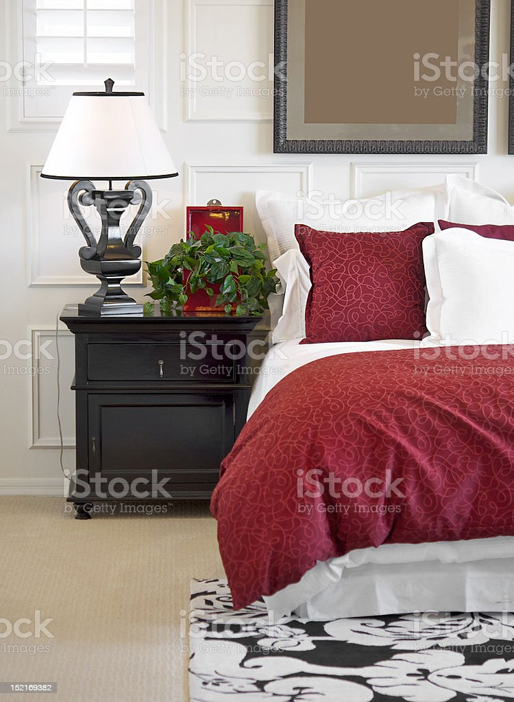 Bedroom side table stock photo