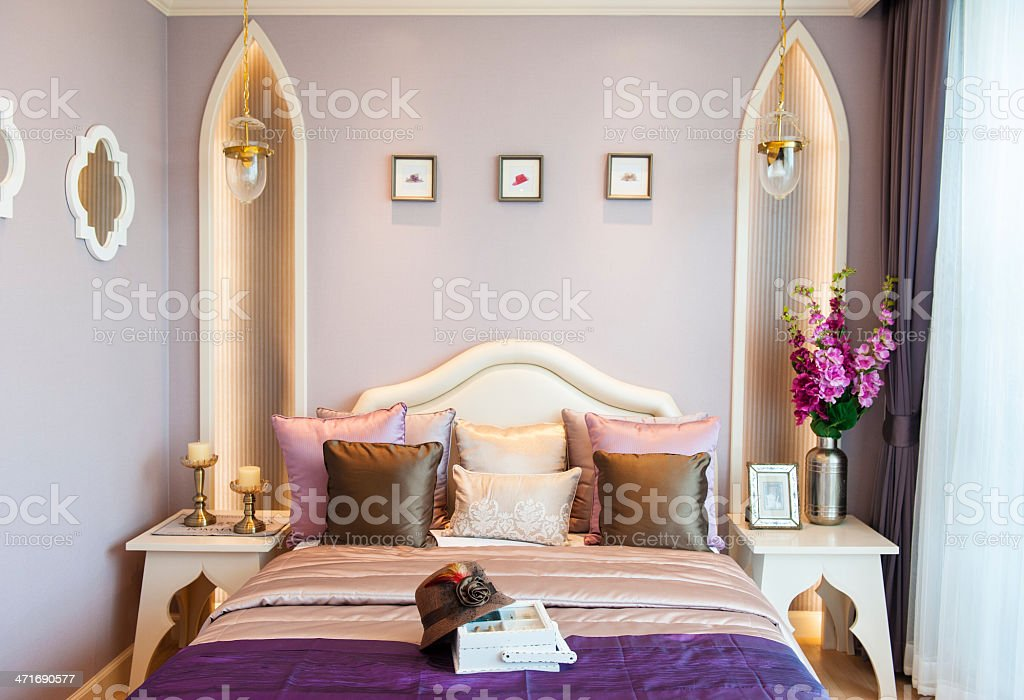 Bedroom suite with purple color royalty-free stock photo