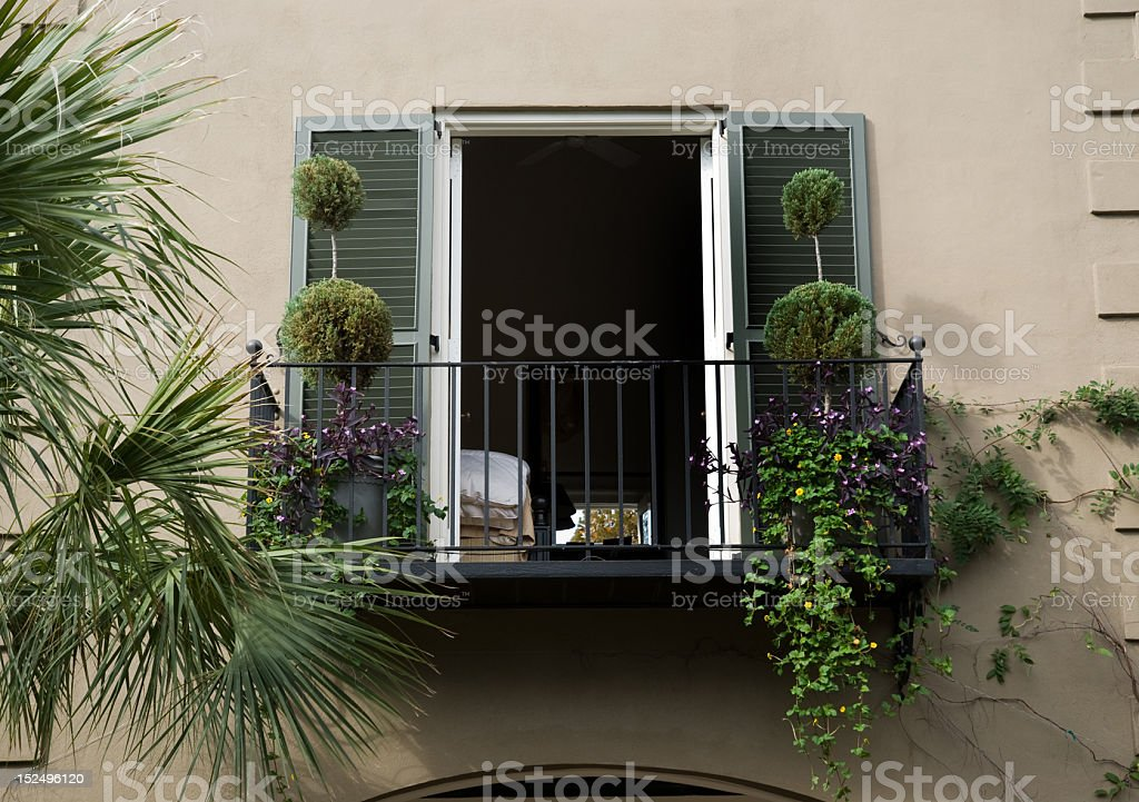 Bedroom Window and Terrace royalty-free stock photo