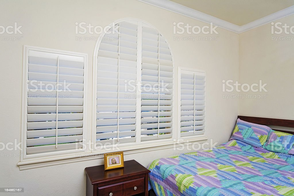 Bedroom Windows with  Blinds royalty-free stock photo