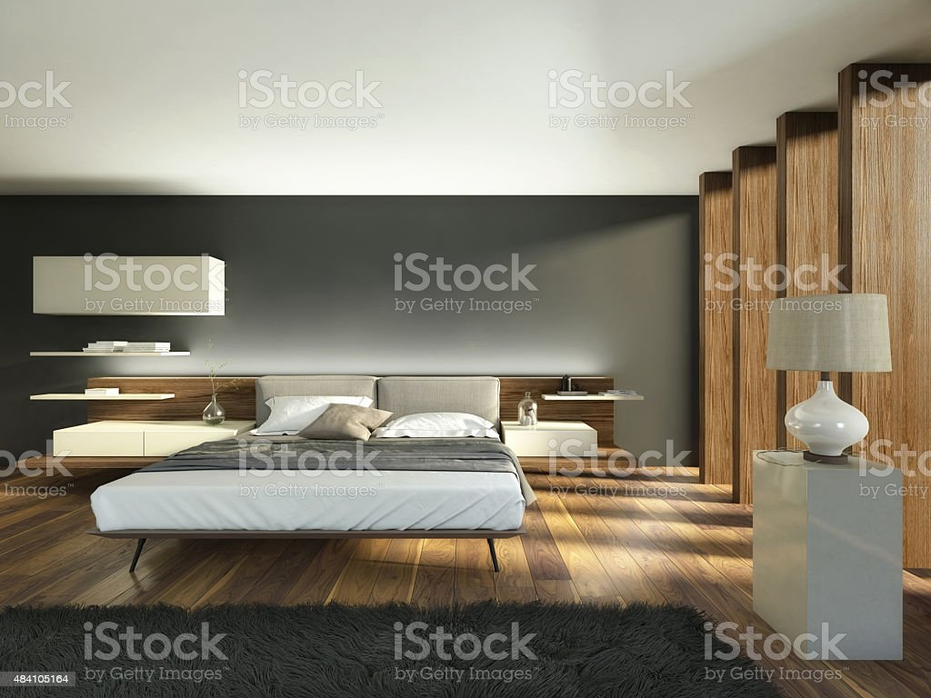 Bedroom with Beams and Wood stock photo