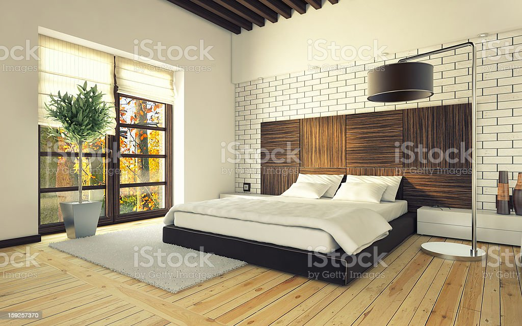 bedroom with brick wall royalty-free stock photo