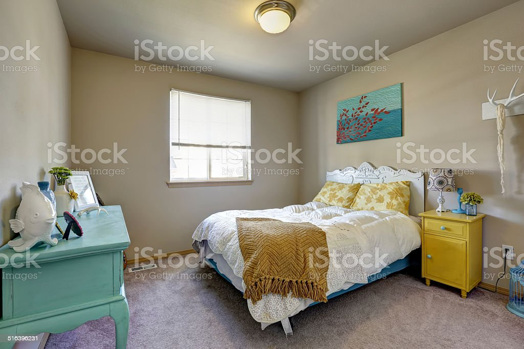 Bedroom with bright antique furniture stock photo