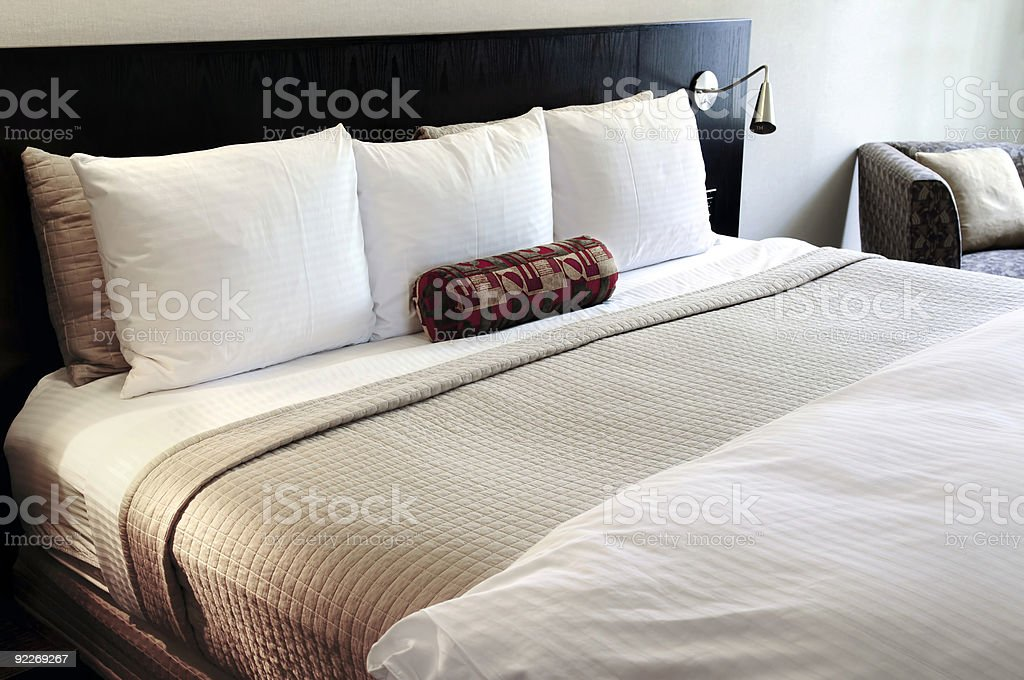 Bedroom with comfortable bed stock photo