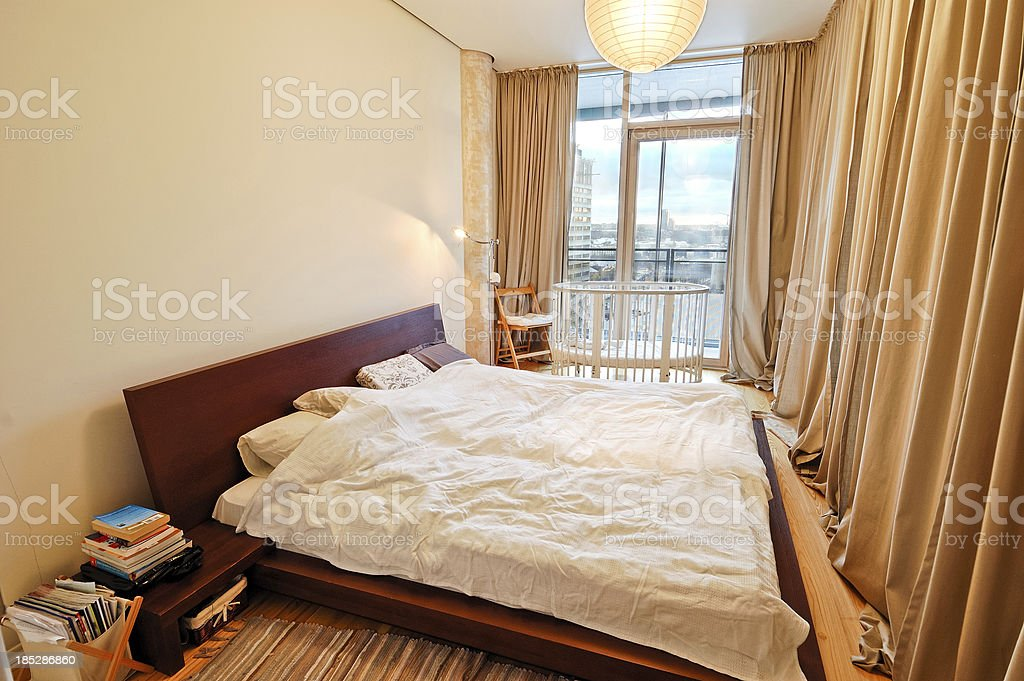Bedroom with double bed royalty-free stock photo
