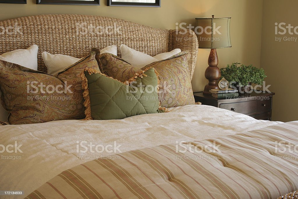 Bedroom with earth tones royalty-free stock photo