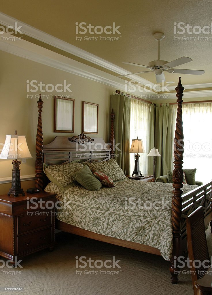 Bedroom with Four Poster Bed stock photo