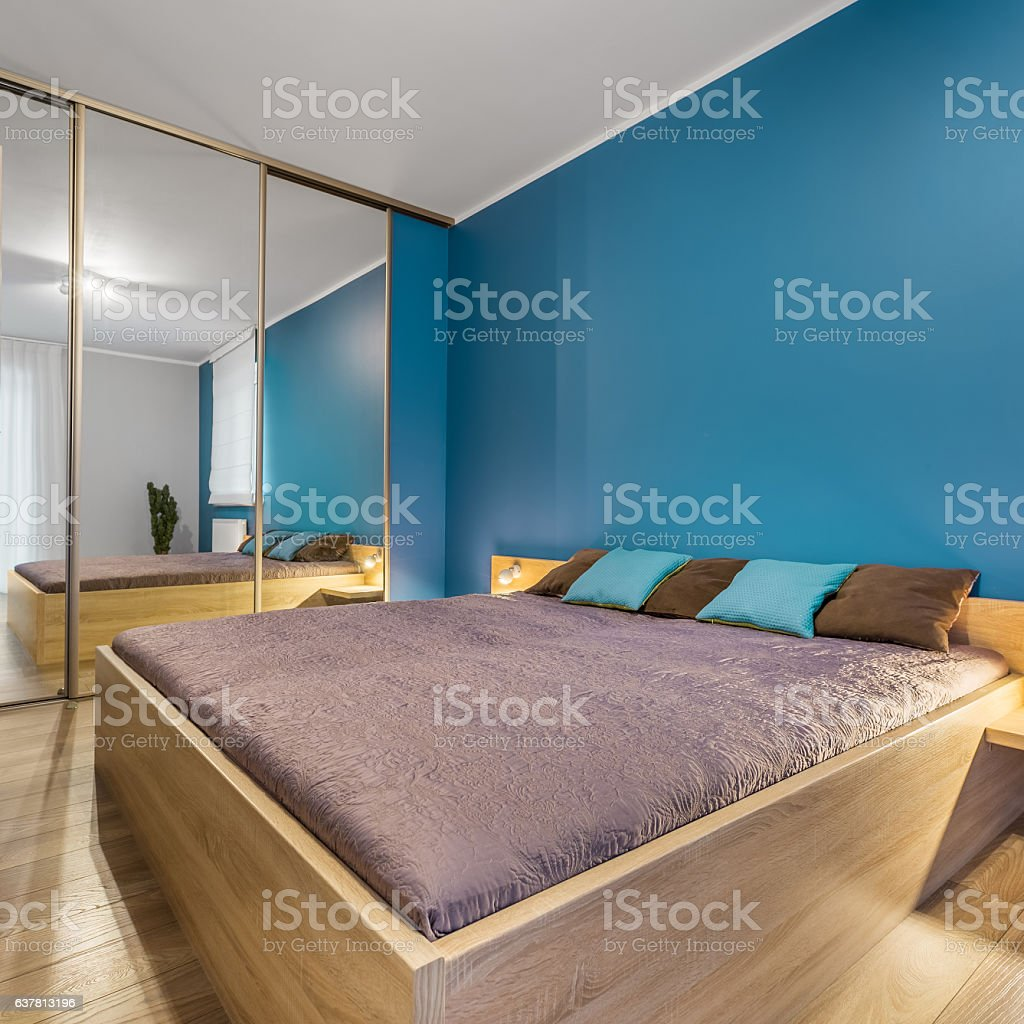 Bedroom with king size bed stock photo