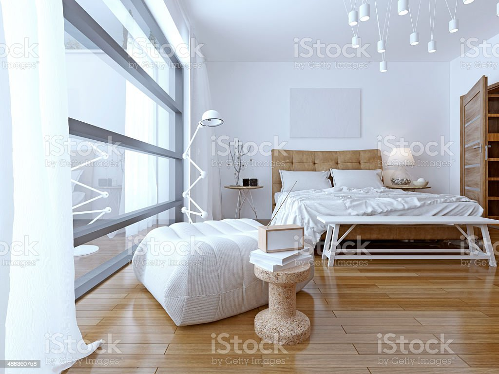 Bedroom with white walls in modern style stock photo