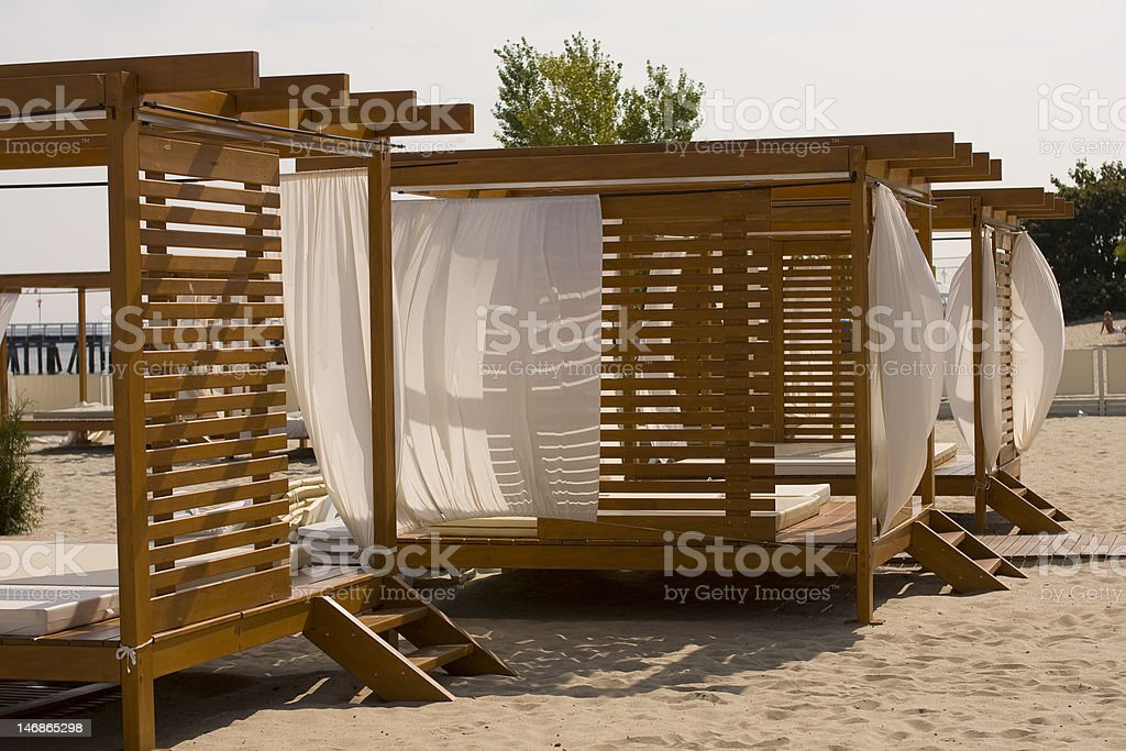 beds on the beach stock photo
