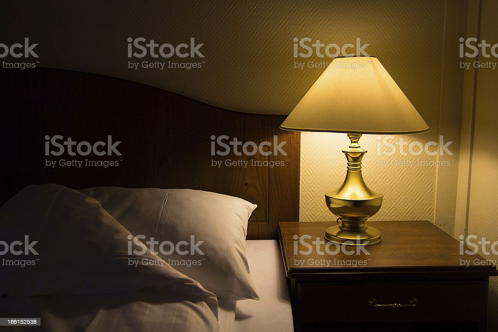 bedside at night stock photo