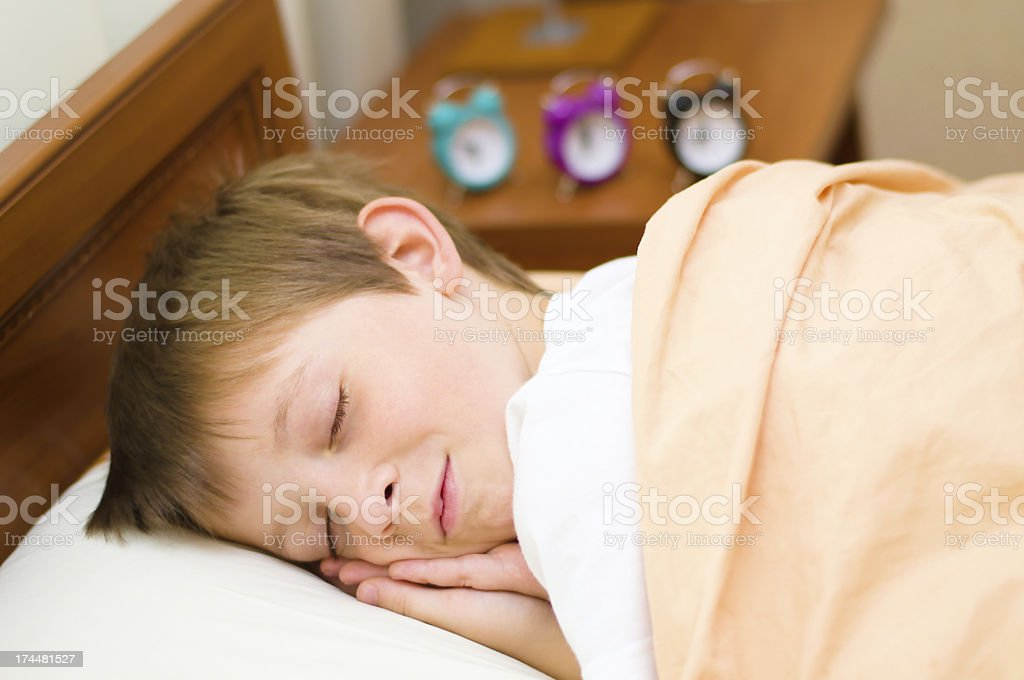 bedtime for schoolboy royalty-free stock photo