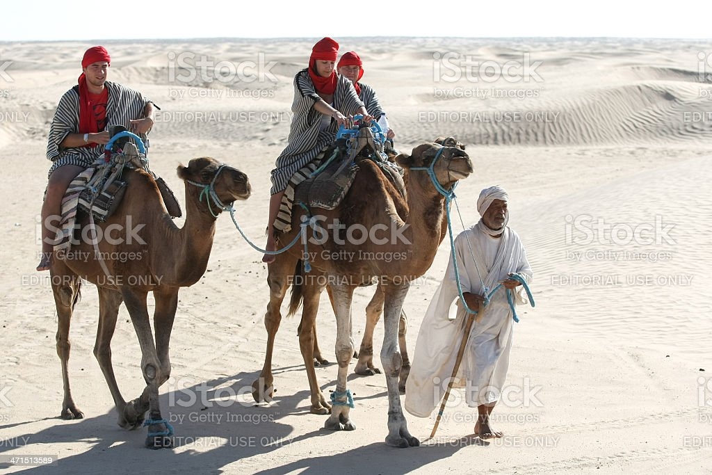 Beduin leading tourists on camels royalty-free stock photo