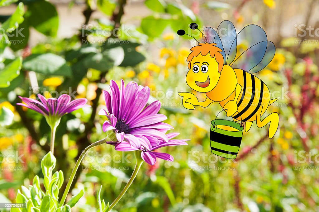 Bee holding a honey bucket and flower stock photo
