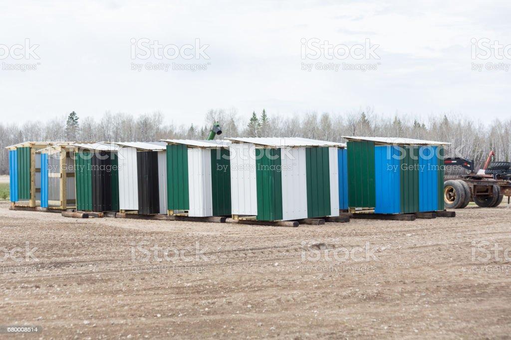 bee huts stock photo