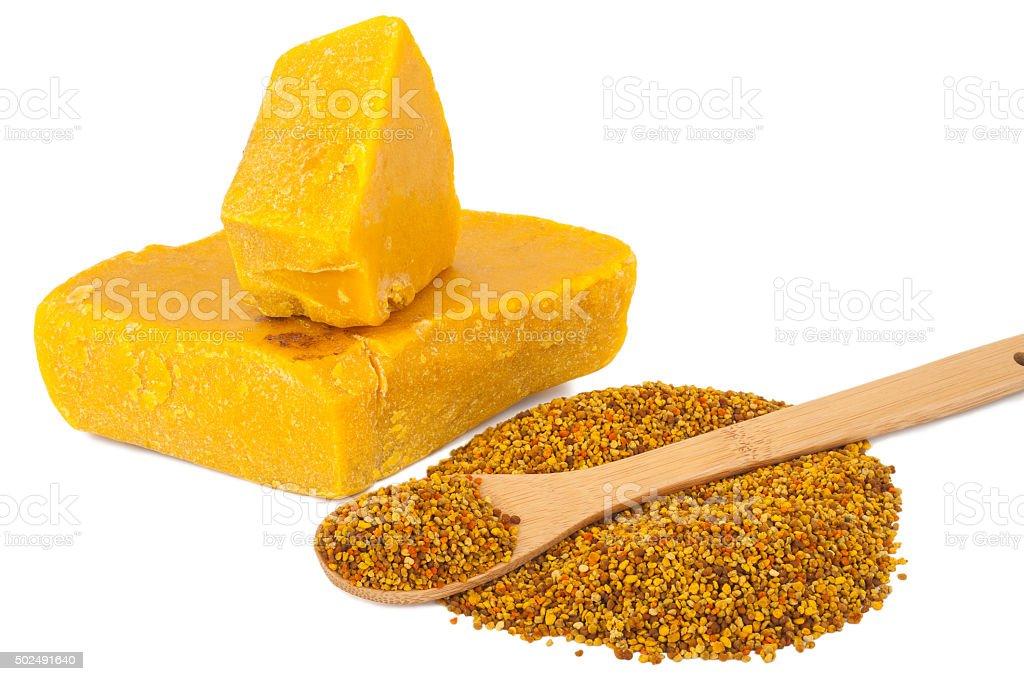 Bee pollen and wax stock photo