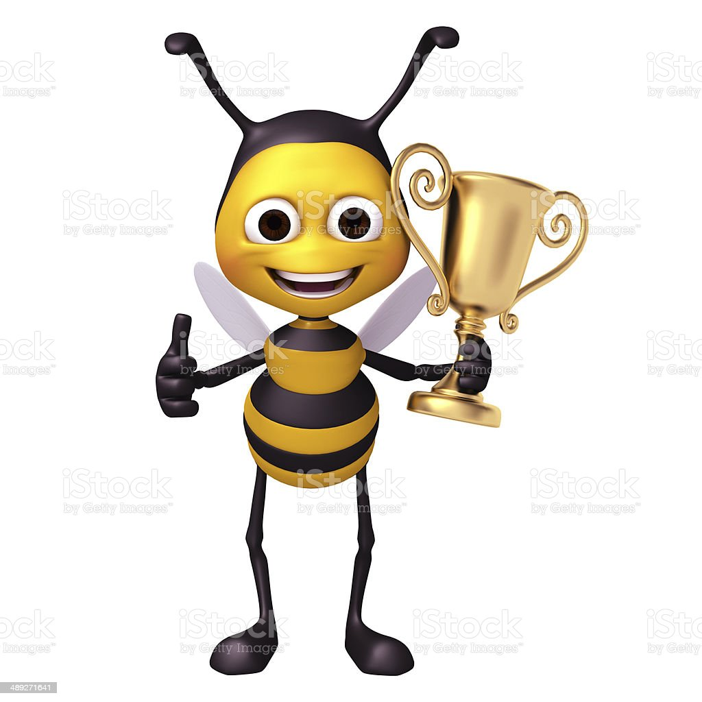 Bee with trophy stock photo