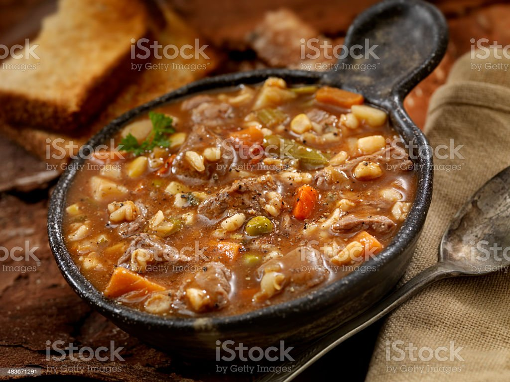 Beef and Barley Soup stock photo