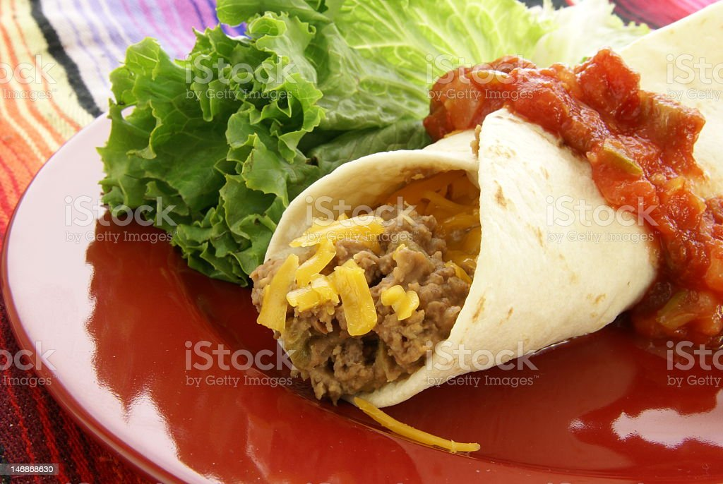 Beef and Bean Burrito royalty-free stock photo