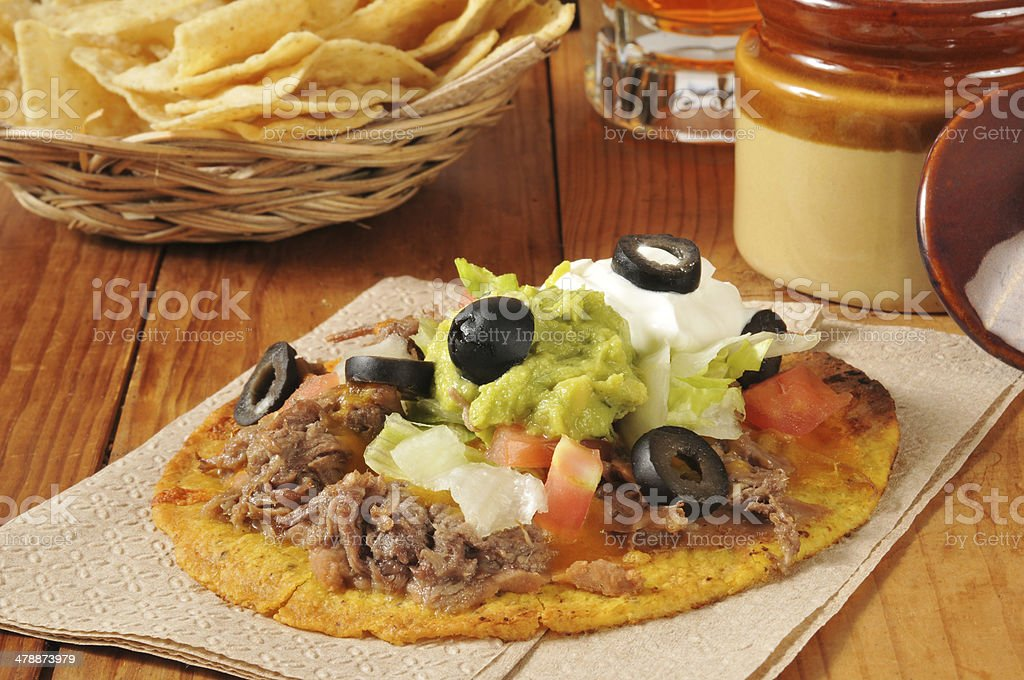 Beef and bean tostadas stock photo