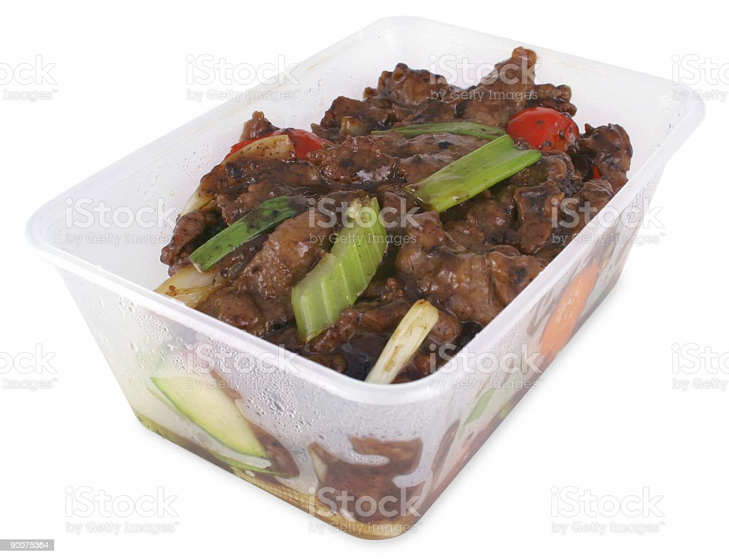 Beef and black bean take out with clipping path royalty-free stock photo