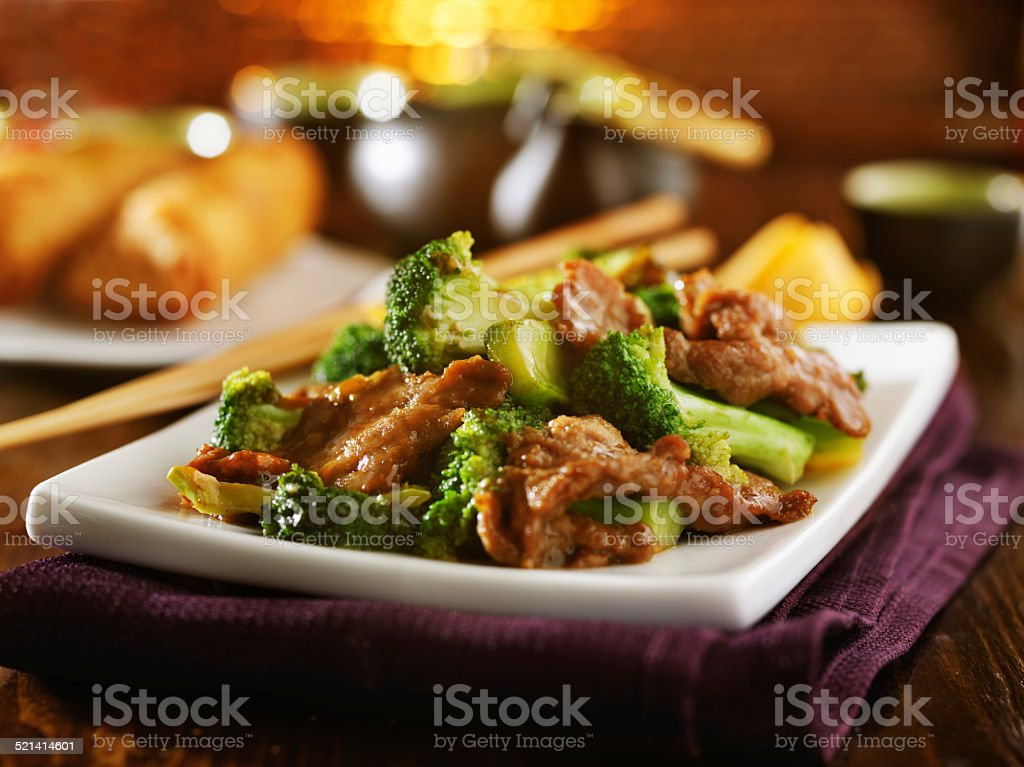 beef and broccoli chinese stirfry stock photo