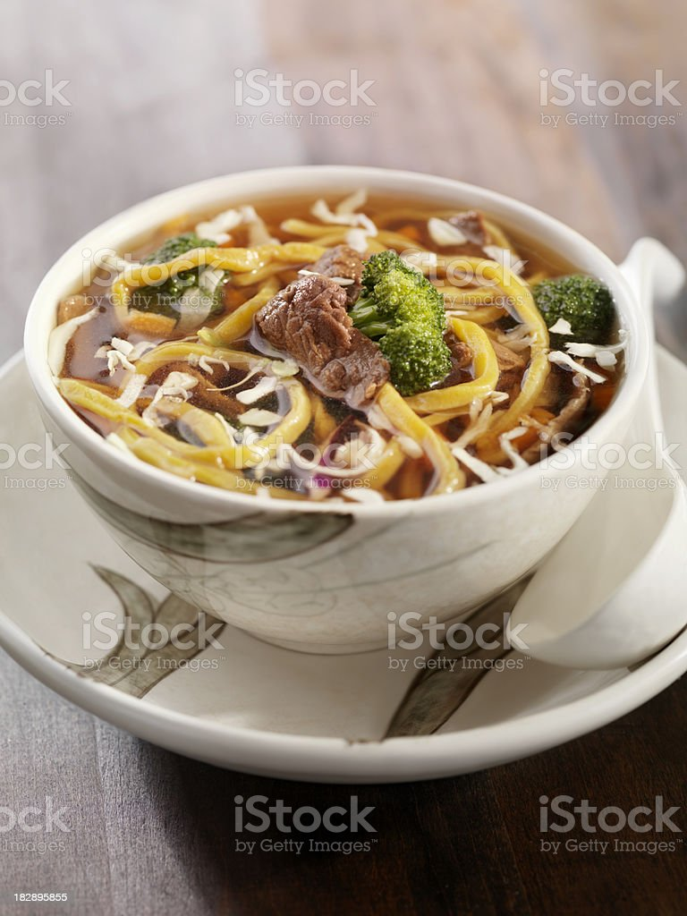 Beef and Broccoli Noodle Soup stock photo