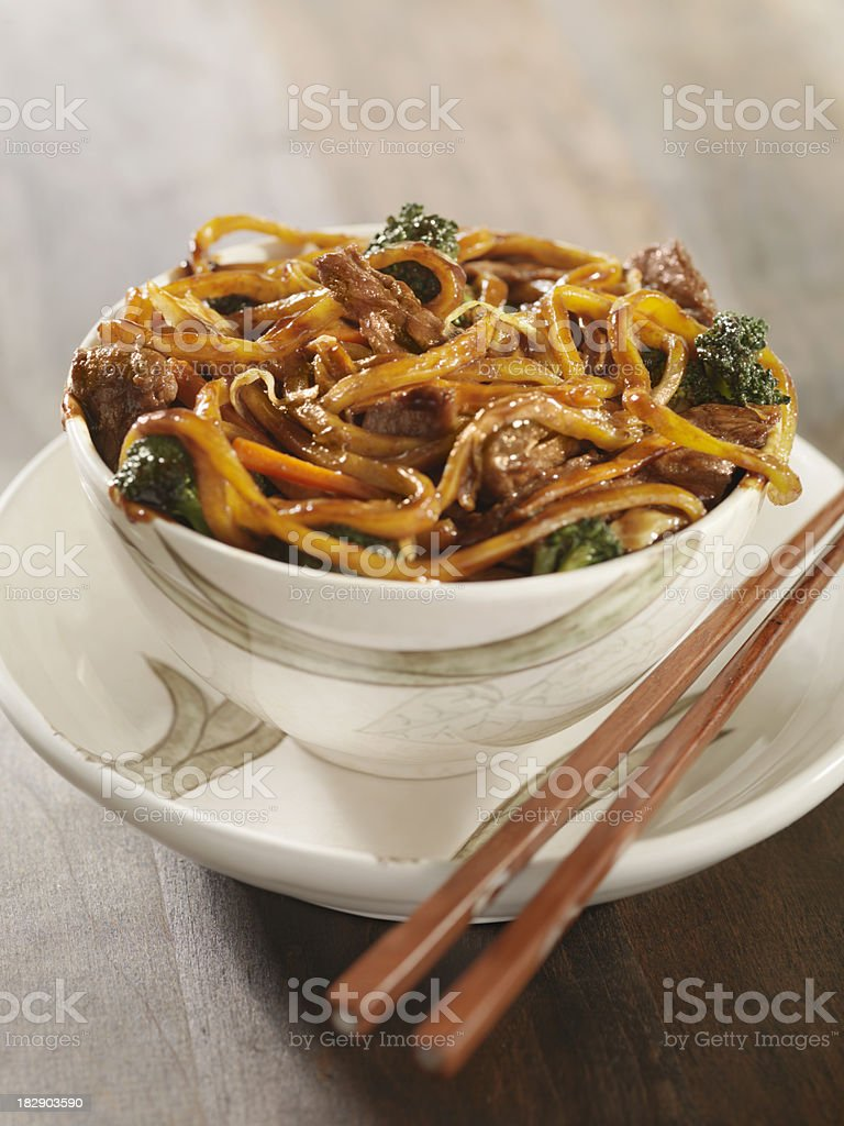 Beef and Broccoli Noodle Stir Fry stock photo