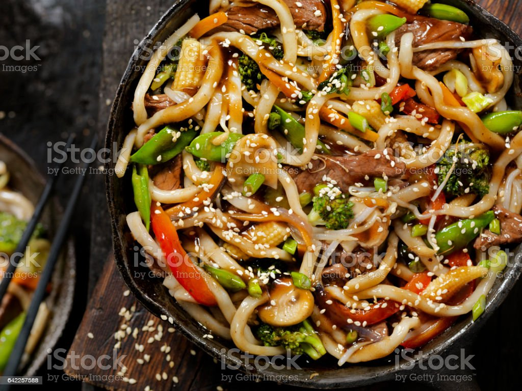 Beef and Broccoli With Udon Noodle Stir Fry stock photo