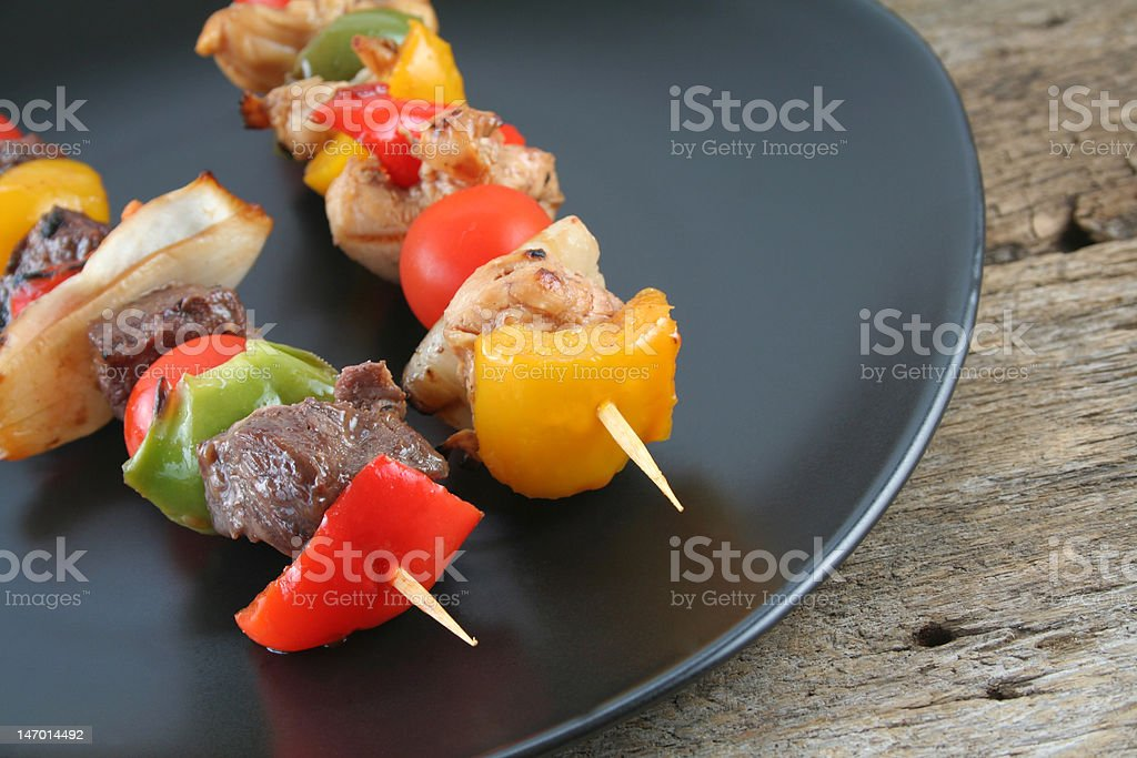 Beef and Chicken Shishkabobs royalty-free stock photo