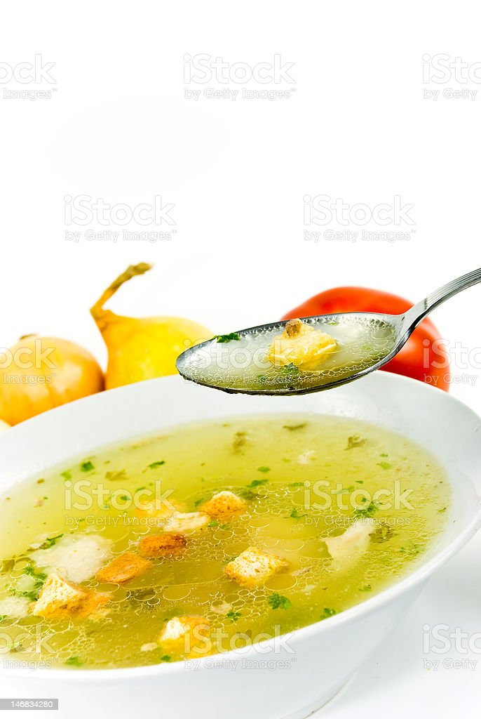 beef and chicken soup-isolated on white background stock photo