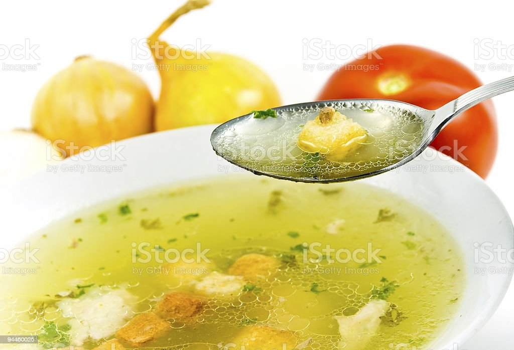beef and chicken soup-isolated on white background royalty-free stock photo