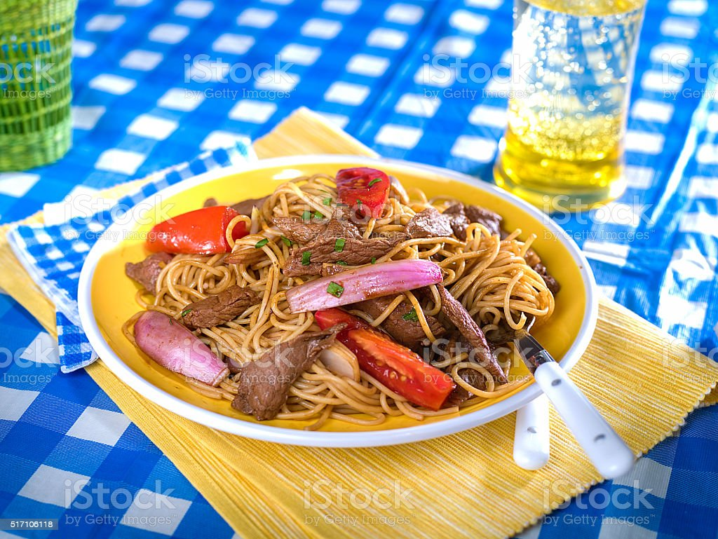 Beef and noodle stir fry, Tallarin Saltado, typical Peruvian dish stock photo